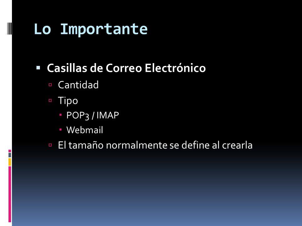 Lo Importante Casillas de Correo Electrónico Cantidad Tipo