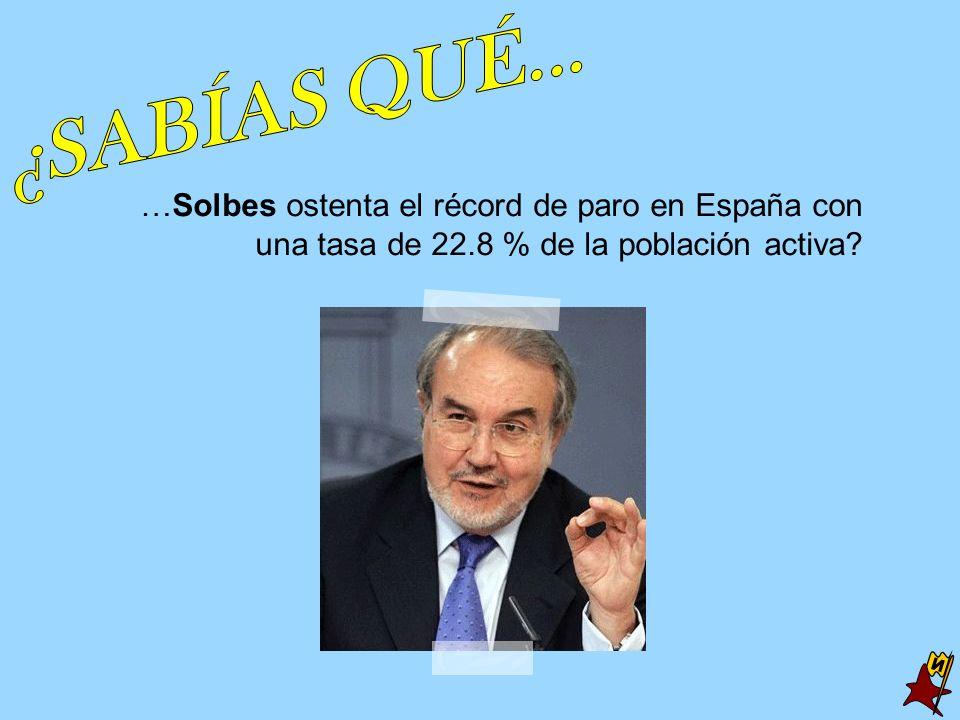¿SABÍAS QUÉ... …Solbes ostenta el récord de paro en España con una tasa de 22.8 % de la población activa