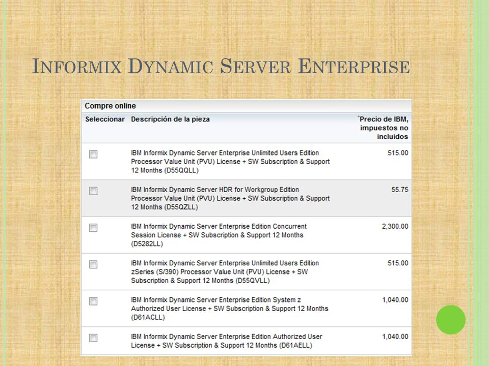Informix Dynamic Server Enterprise