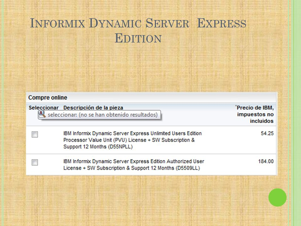 Informix Dynamic Server Express Edition