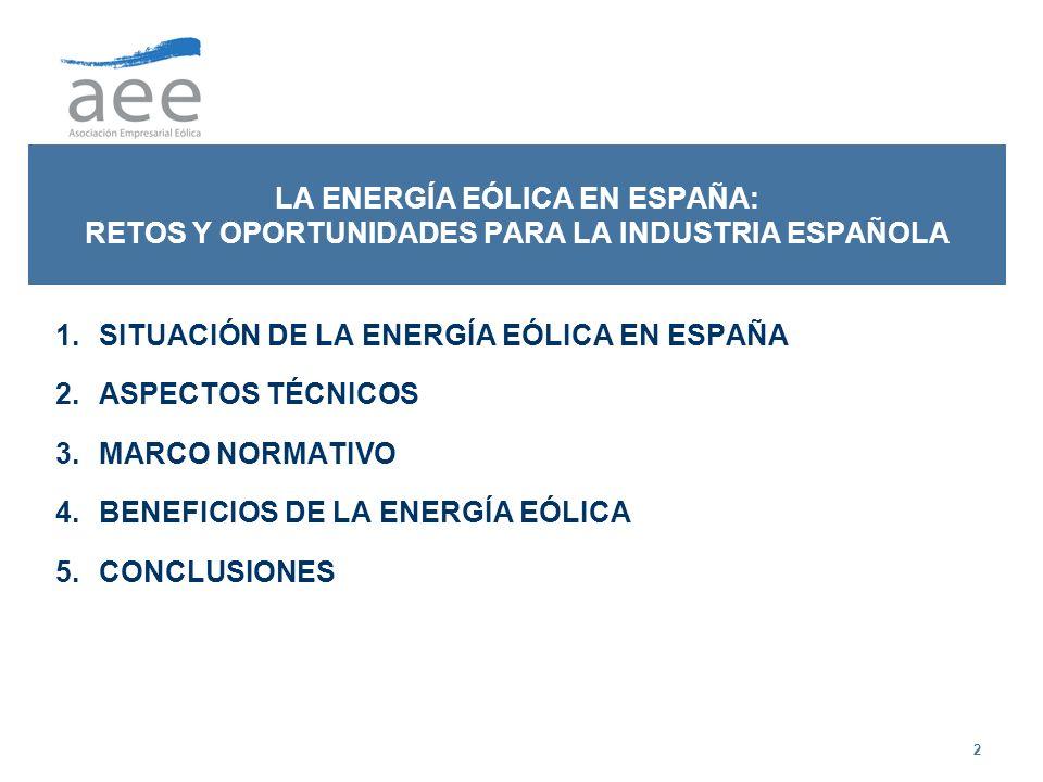 LA ENERGÍA EÓLICA EN ESPAÑA: RETOS Y OPORTUNIDADES PARA LA INDUSTRIA ESPAÑOLA