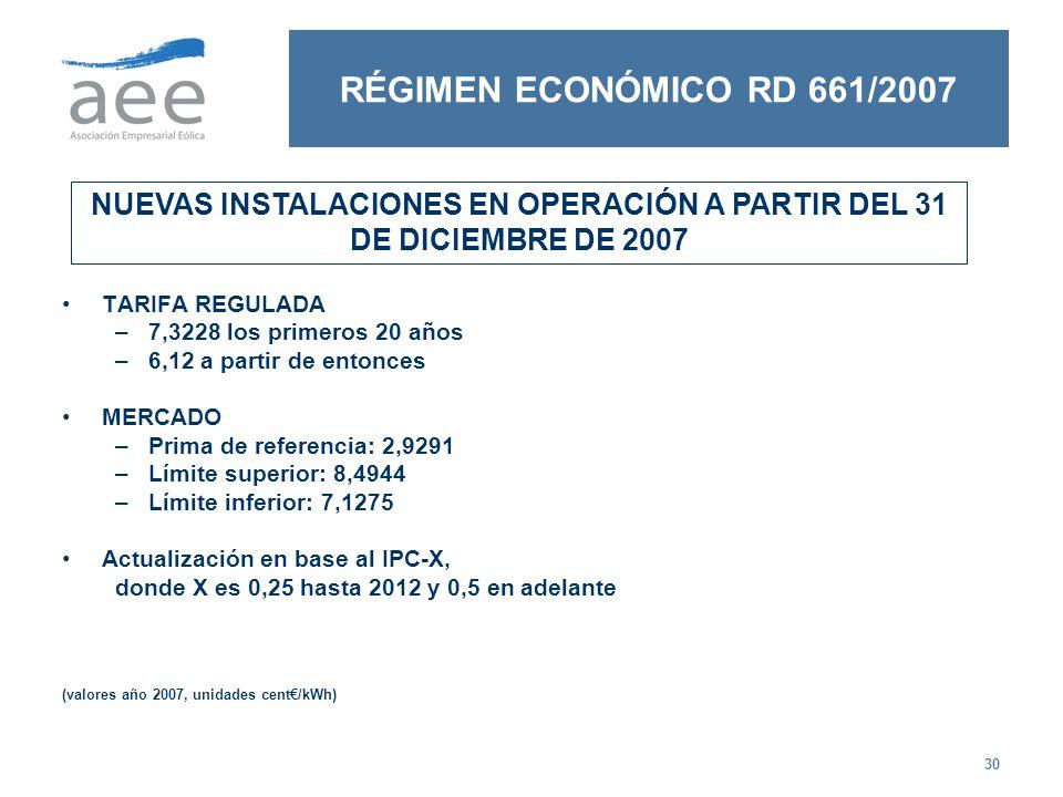 NUEVAS INSTALACIONES EN OPERACIÓN A PARTIR DEL 31 DE DICIEMBRE DE 2007