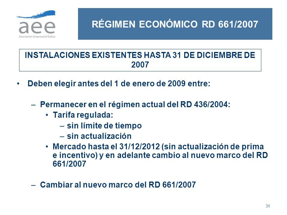 INSTALACIONES EXISTENTES HASTA 31 DE DICIEMBRE DE 2007