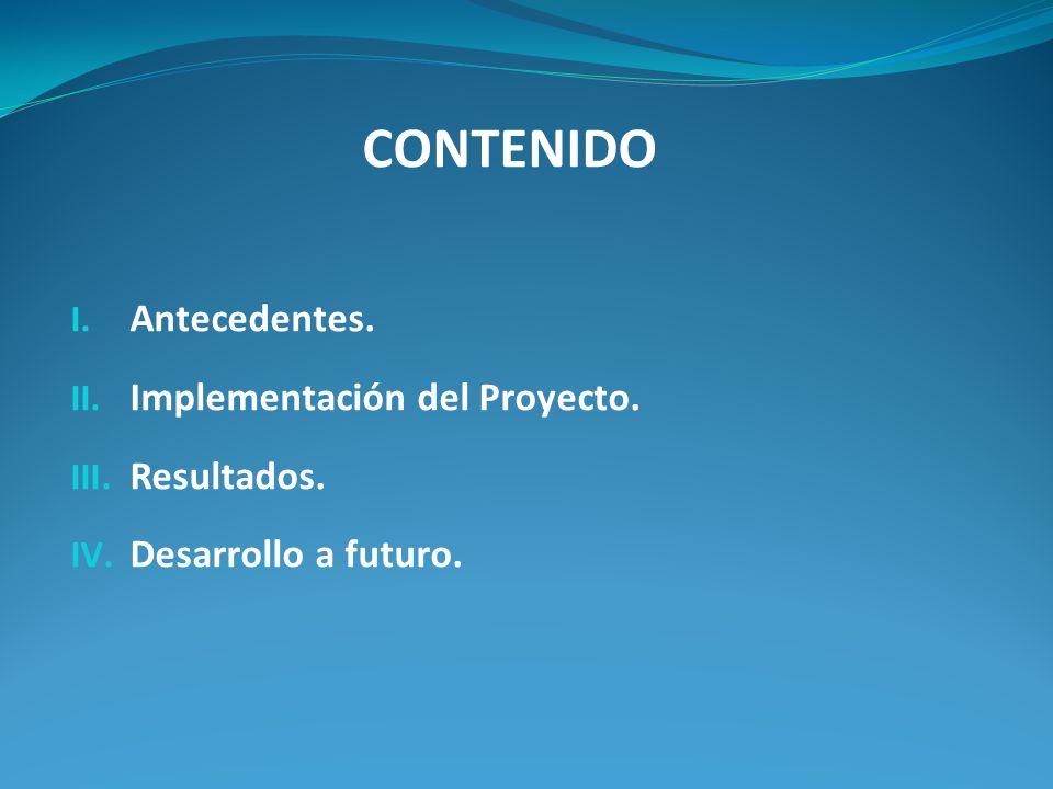 CONTENIDO Antecedentes. Implementación del Proyecto. Resultados.