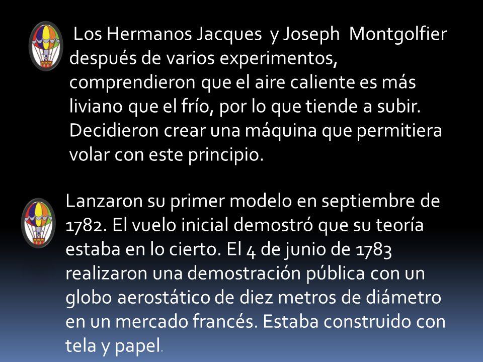 Los Hermanos Jacques y Joseph Montgolfier después de varios experimentos, comprendieron que el aire caliente es más liviano que el frío, por lo que tiende a subir. Decidieron crear una máquina que permitiera volar con este principio.