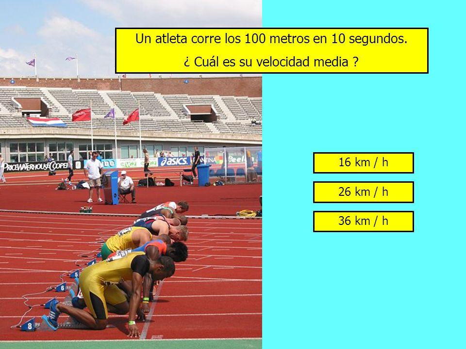 Un atleta corre los 100 metros en 10 segundos.