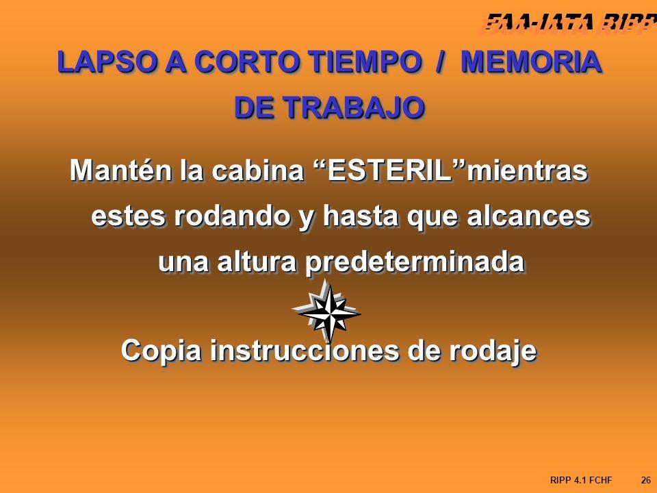 LAPSO A CORTO TIEMPO / MEMORIA DE TRABAJO