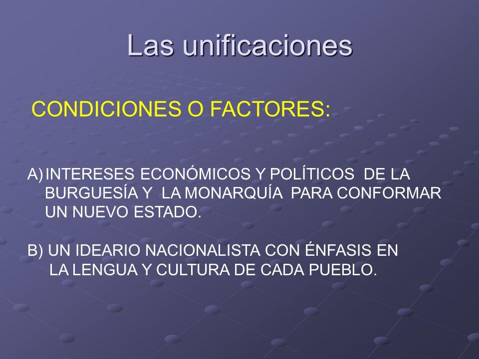 Las unificaciones CONDICIONES O FACTORES: