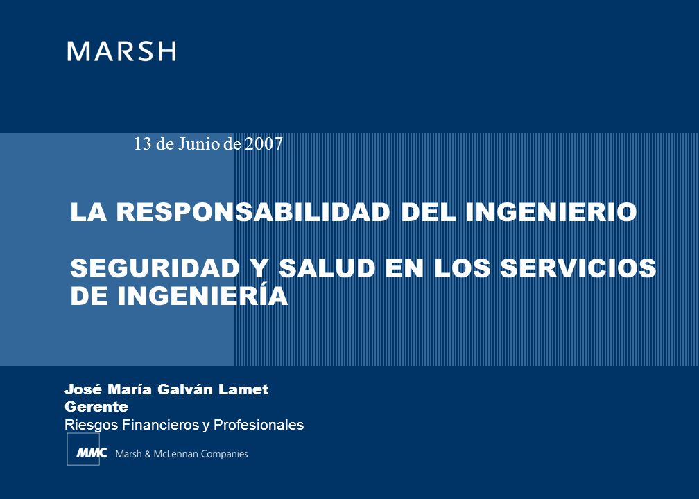 13 de Junio de 2007 LA RESPONSABILIDAD DEL INGENIERIO SEGURIDAD Y SALUD EN LOS SERVICIOS DE INGENIERÍA.