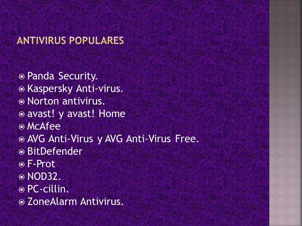 AVG Anti-Virus y AVG Anti-Virus Free. BitDefender F-Prot NOD32.