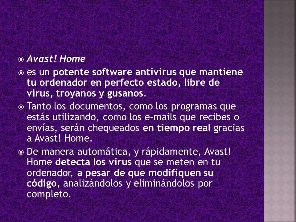 Avast! Home es un potente software antivirus que mantiene tu ordenador en perfecto estado, libre de virus, troyanos y gusanos.