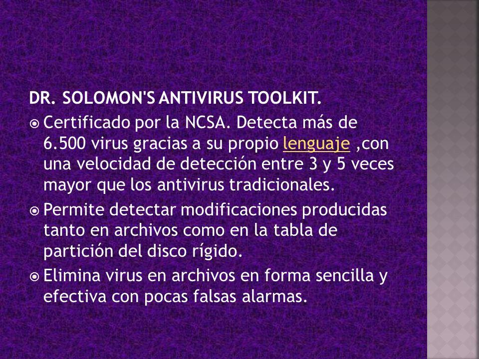 DR. SOLOMON S ANTIVIRUS TOOLKIT.