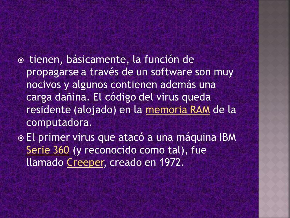 tienen, básicamente, la función de propagarse a través de un software son muy nocivos y algunos contienen además una carga dañina. El código del virus queda residente (alojado) en la memoria RAM de la computadora.