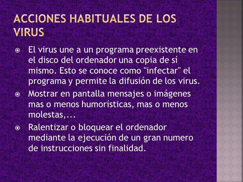 ACCIONES HABITUALES DE LOS VIRUS