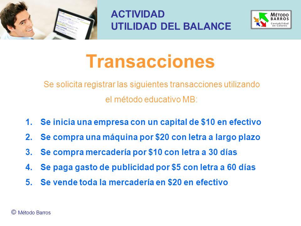 Transacciones ACTIVIDAD UTILIDAD DEL BALANCE