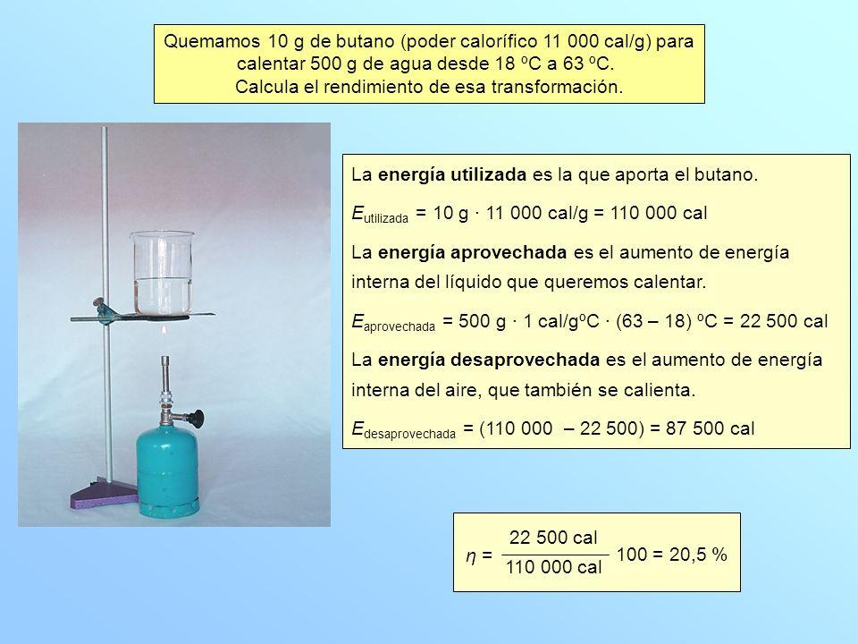 Quemamos 10 g de butano (poder calorífico 11 000 cal/g) para