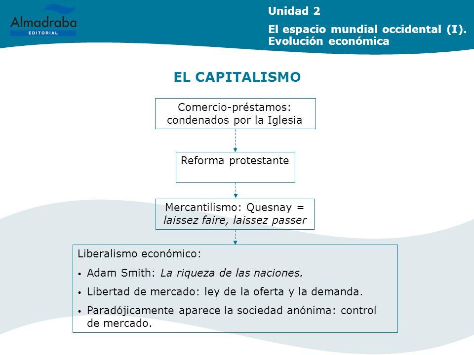 Unidad 2 El espacio mundial occidental (I). Evolución económica. EL CAPITALISMO. Comercio-préstamos: condenados por la Iglesia.