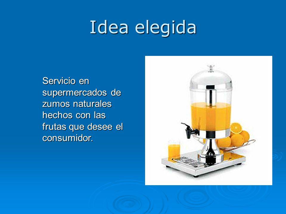 Idea elegida Servicio en supermercados de zumos naturales hechos con las frutas que desee el consumidor.