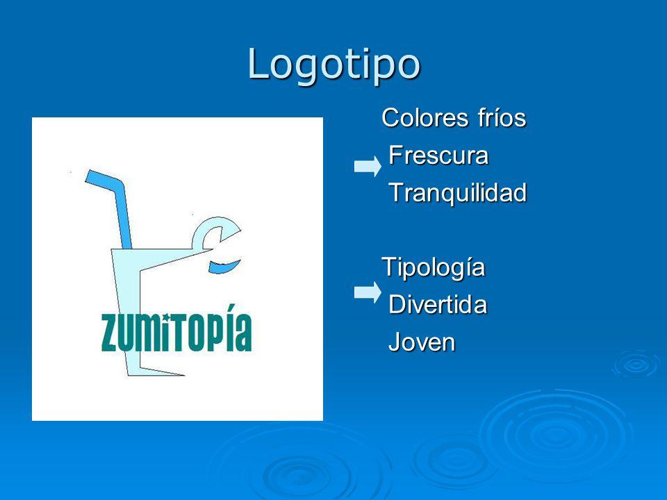 Logotipo Colores fríos Frescura Tranquilidad Tipología Divertida Joven