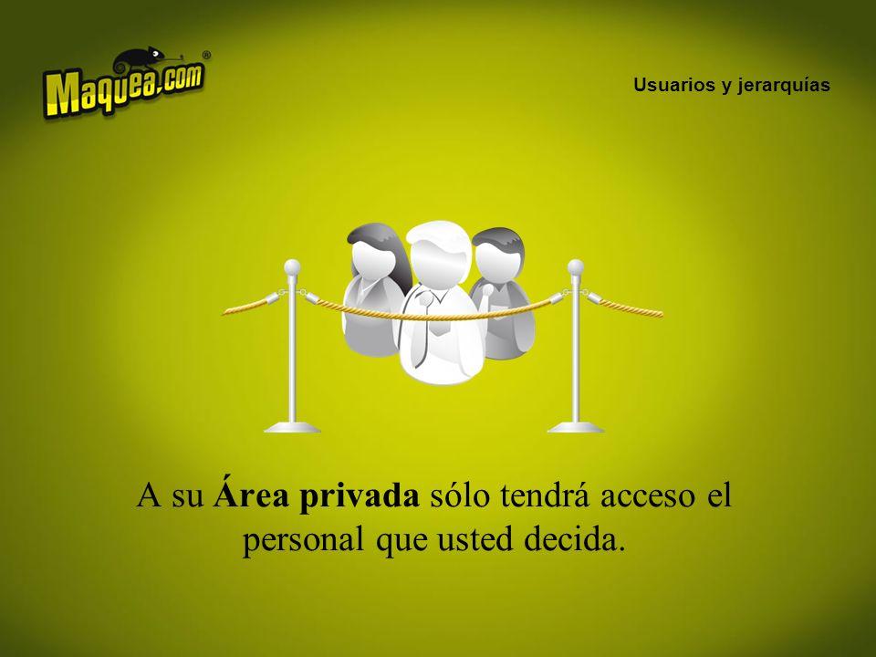 A su Área privada sólo tendrá acceso el personal que usted decida.