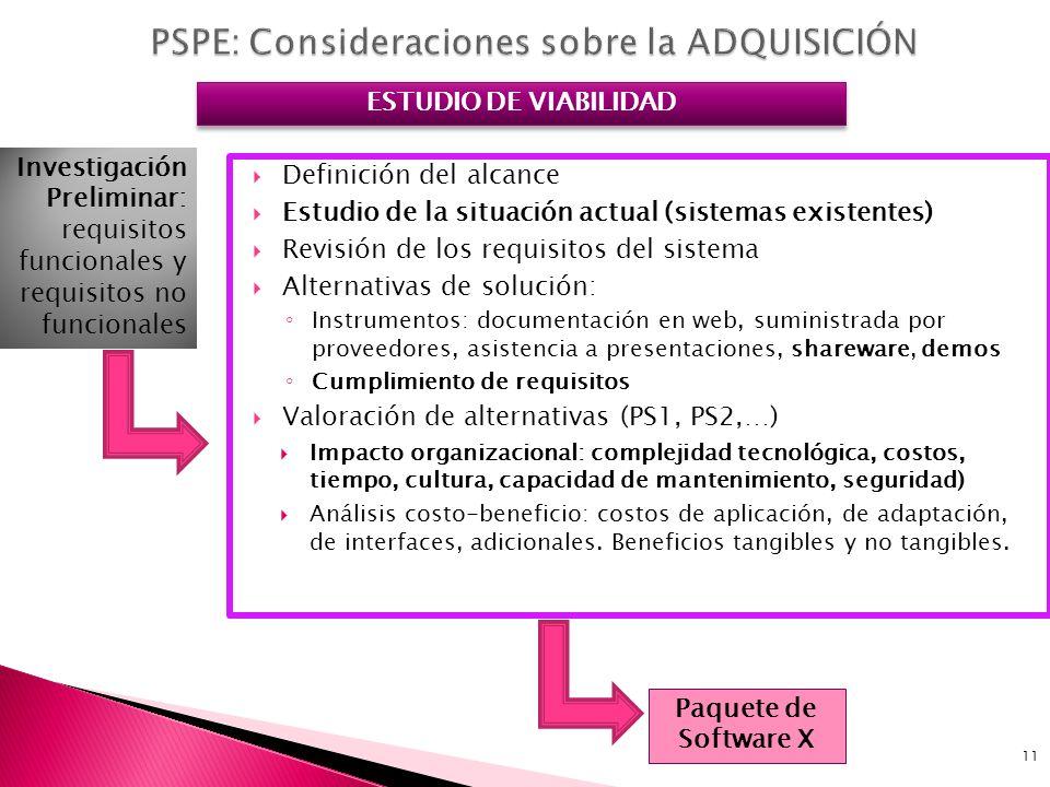 PSPE: Consideraciones sobre la ADQUISICIÓN
