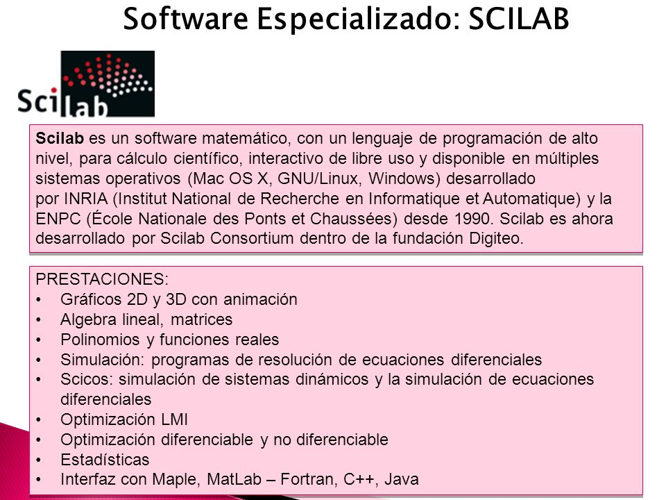 Software Especializado: SCILAB