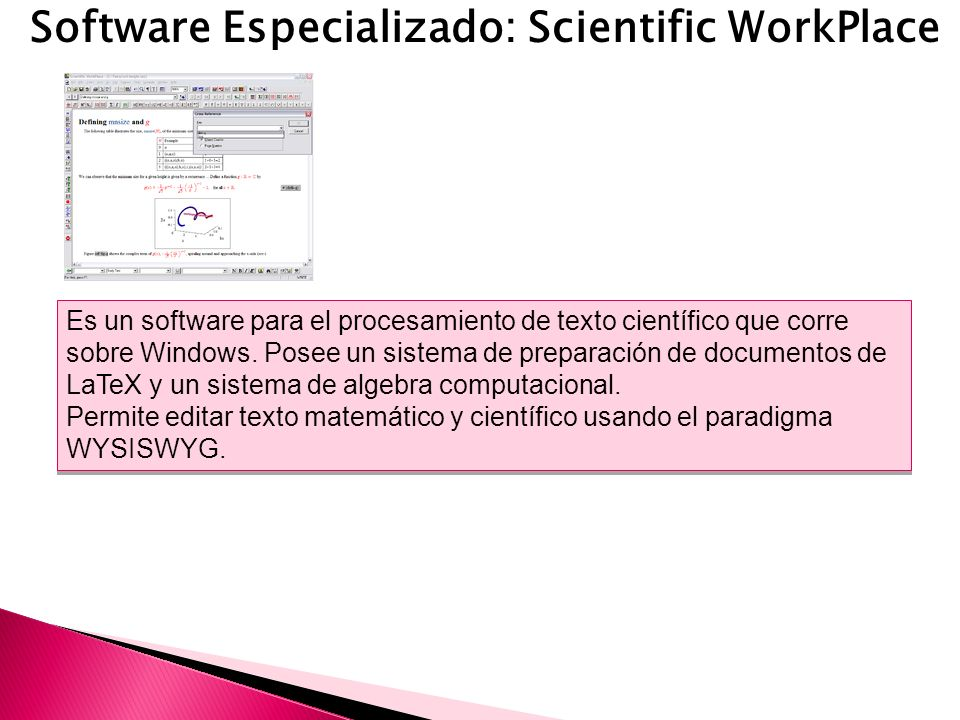Software Especializado: Scientific WorkPlace