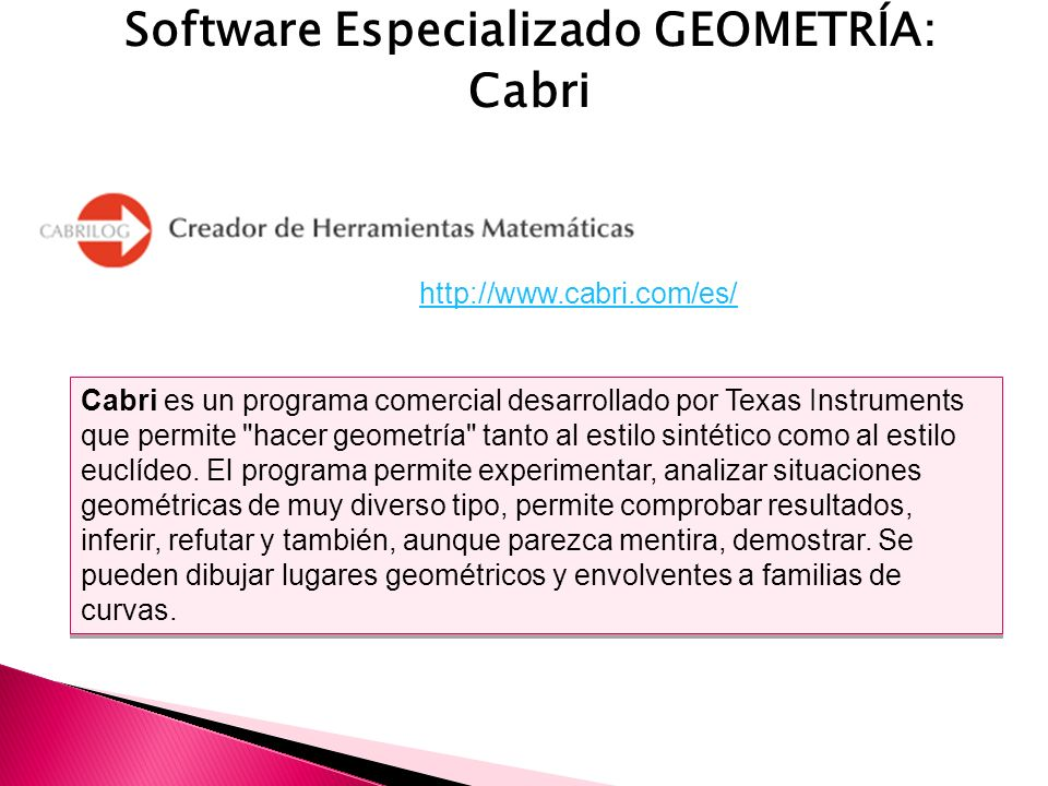 Software Especializado GEOMETRÍA: Cabri