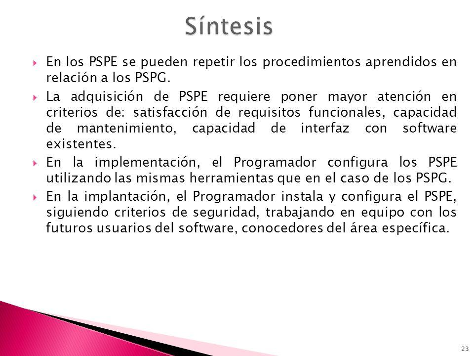 Síntesis En los PSPE se pueden repetir los procedimientos aprendidos en relación a los PSPG.