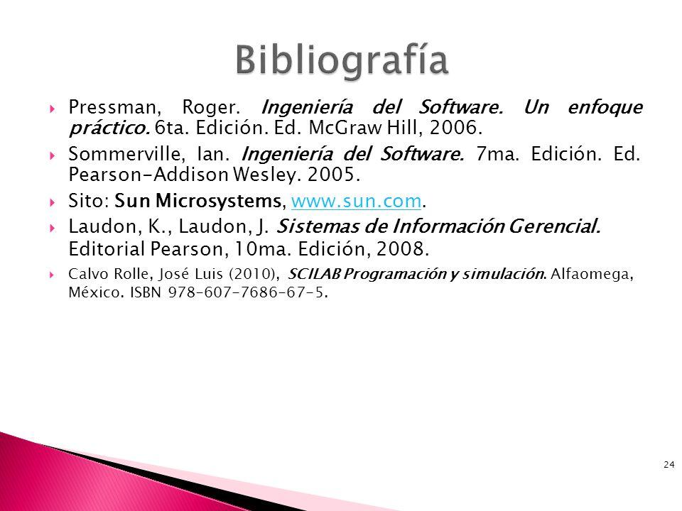 Bibliografía Pressman, Roger. Ingeniería del Software. Un enfoque práctico. 6ta. Edición. Ed. McGraw Hill, 2006.