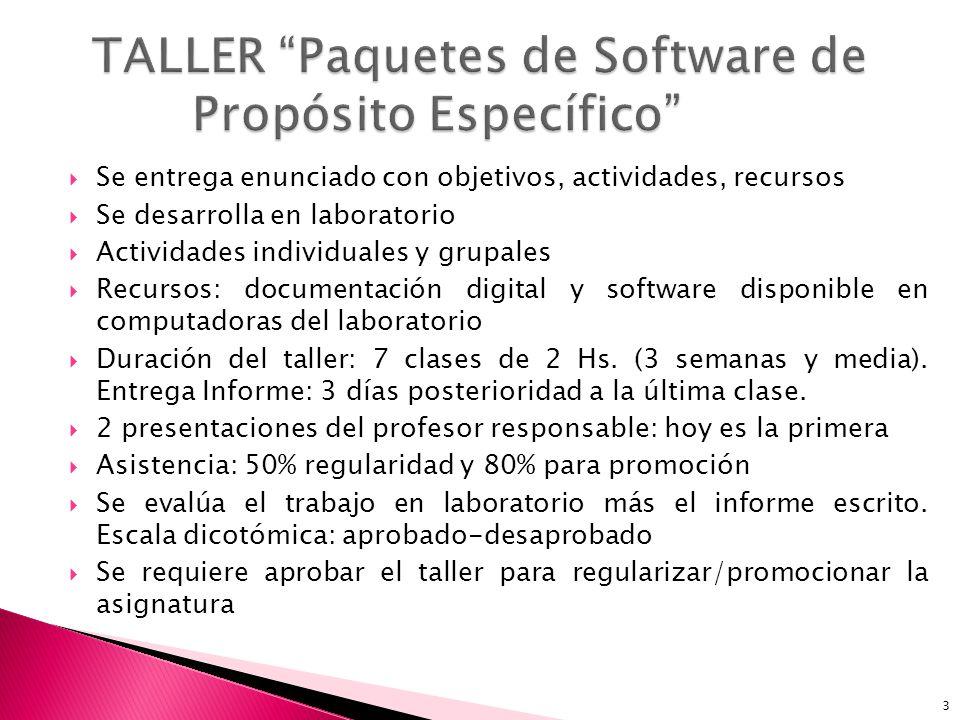 TALLER Paquetes de Software de Propósito Específico