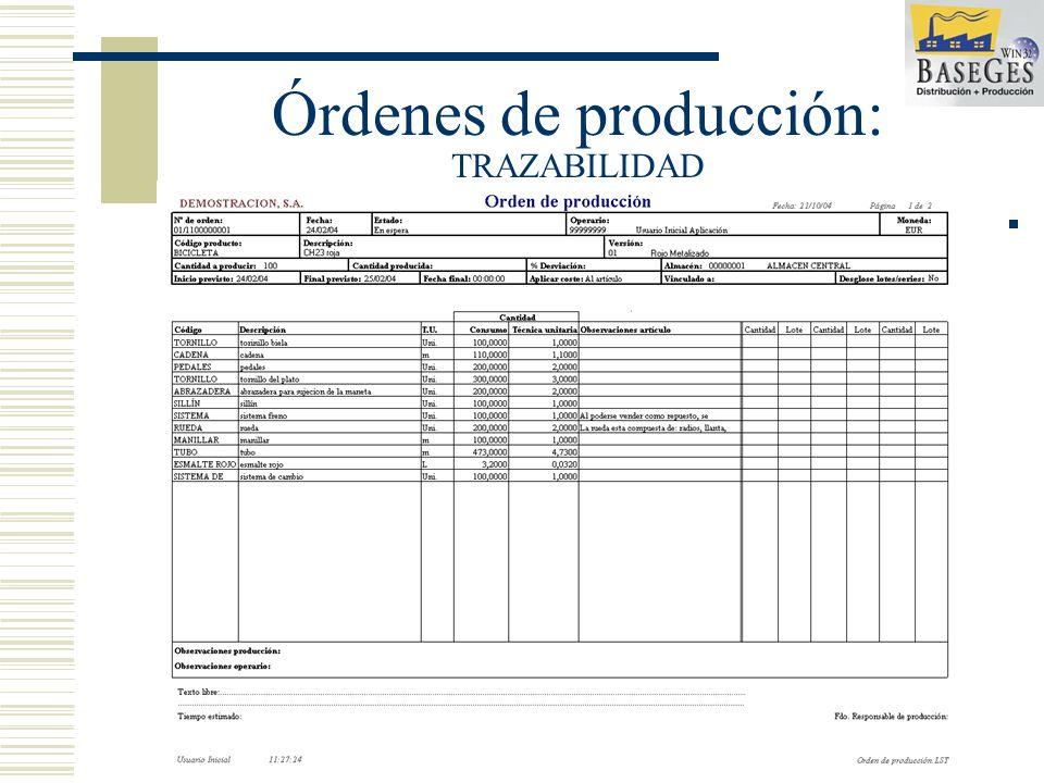 Órdenes de producción: TRAZABILIDAD