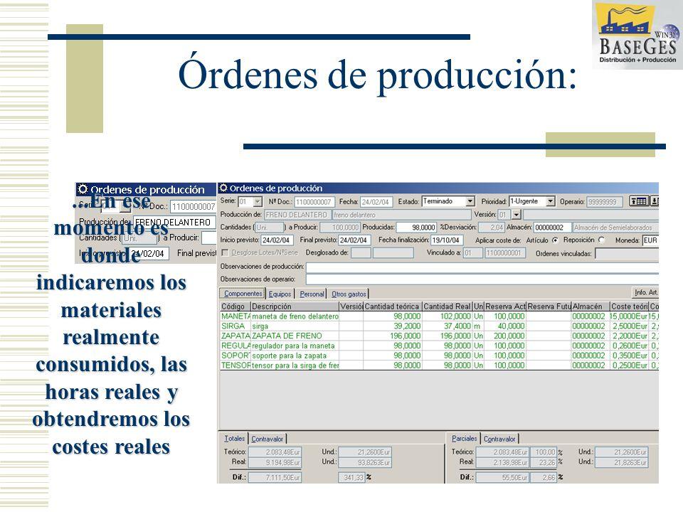 Órdenes de producción: