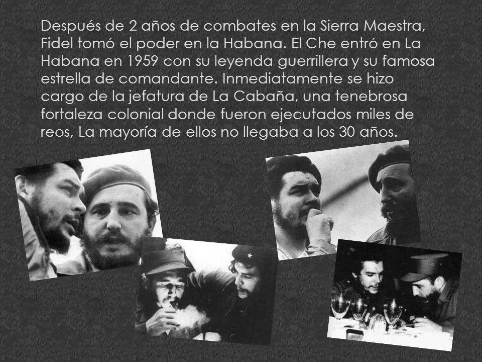 Después de 2 años de combates en la Sierra Maestra, Fidel tomó el poder en la Habana.