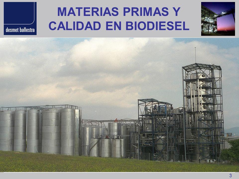 MATERIAS PRIMAS Y CALIDAD EN BIODIESEL