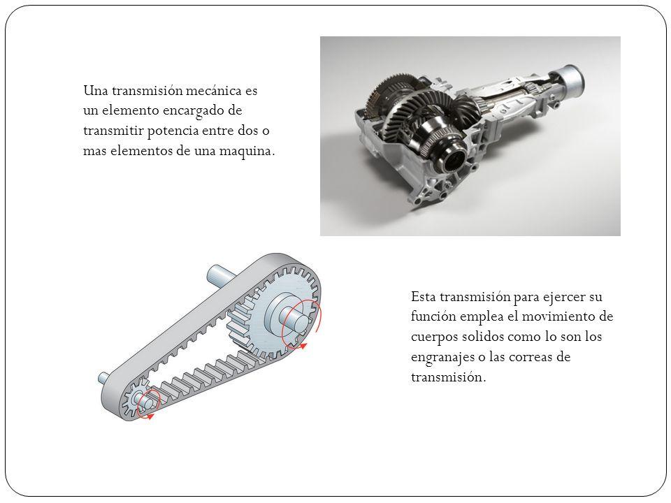 Una transmisión mecánica es un elemento encargado de transmitir potencia entre dos o mas elementos de una maquina.