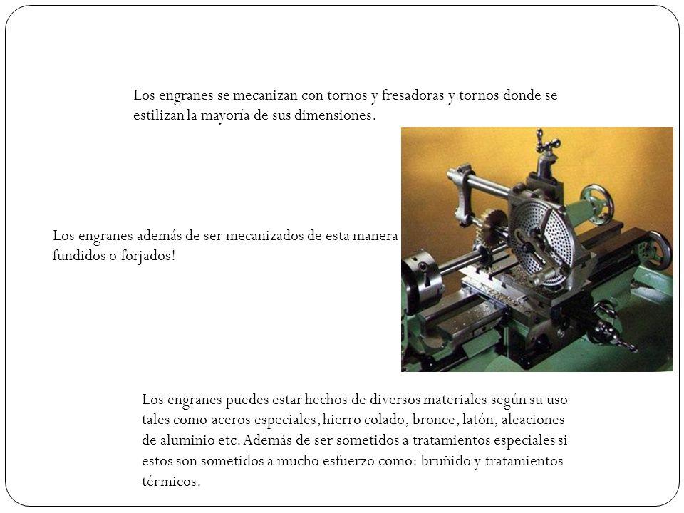 Los engranes se mecanizan con tornos y fresadoras y tornos donde se estilizan la mayoría de sus dimensiones.