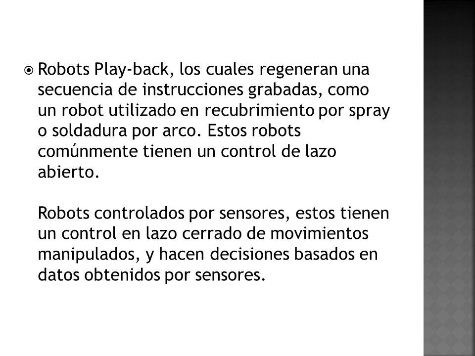 Robots Play-back, los cuales regeneran una secuencia de instrucciones grabadas, como un robot utilizado en recubrimiento por spray o soldadura por arco.