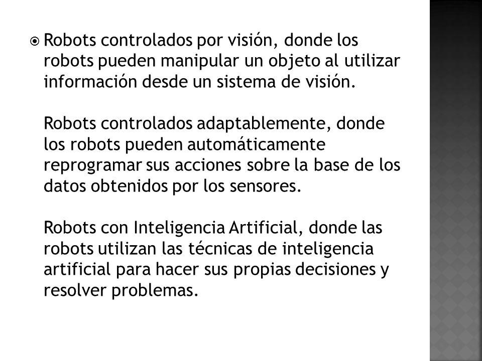 Robots controlados por visión, donde los robots pueden manipular un objeto al utilizar información desde un sistema de visión.