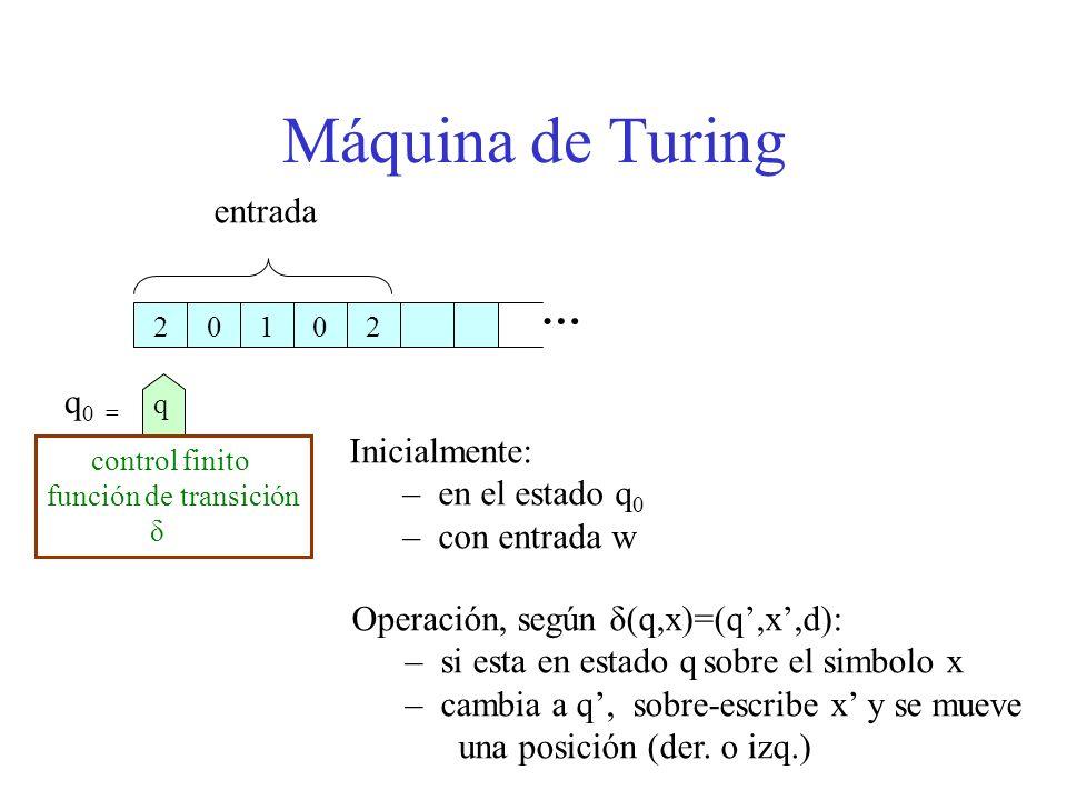 Máquina de Turing … entrada q0 = Inicialmente: en el estado q0