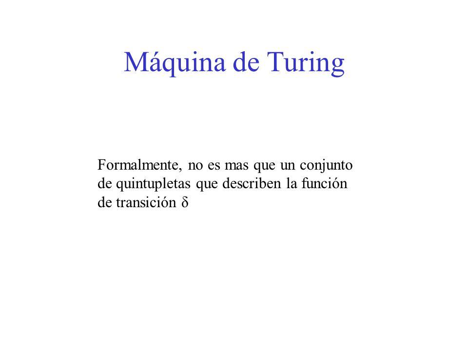 Máquina de Turing Formalmente, no es mas que un conjunto