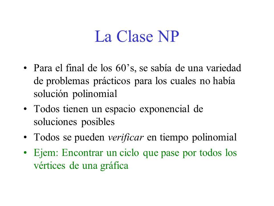 La Clase NP Para el final de los 60's, se sabía de una variedad de problemas prácticos para los cuales no había solución polinomial.