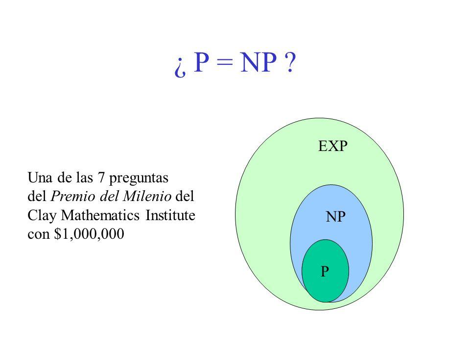 ¿ P = NP EXP Una de las 7 preguntas