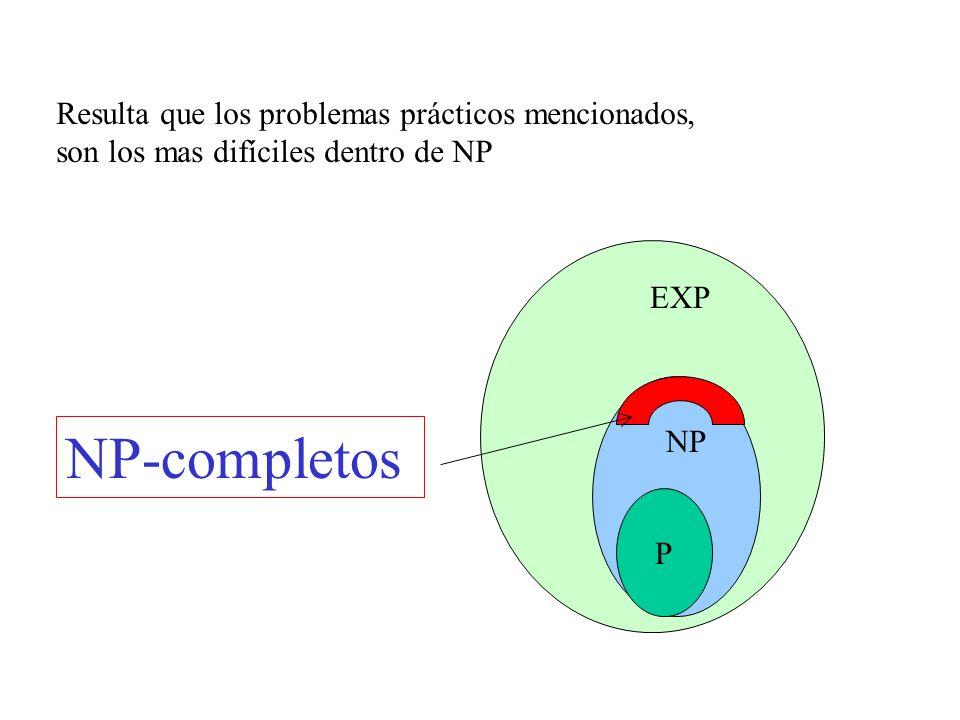 NP-completos Resulta que los problemas prácticos mencionados,