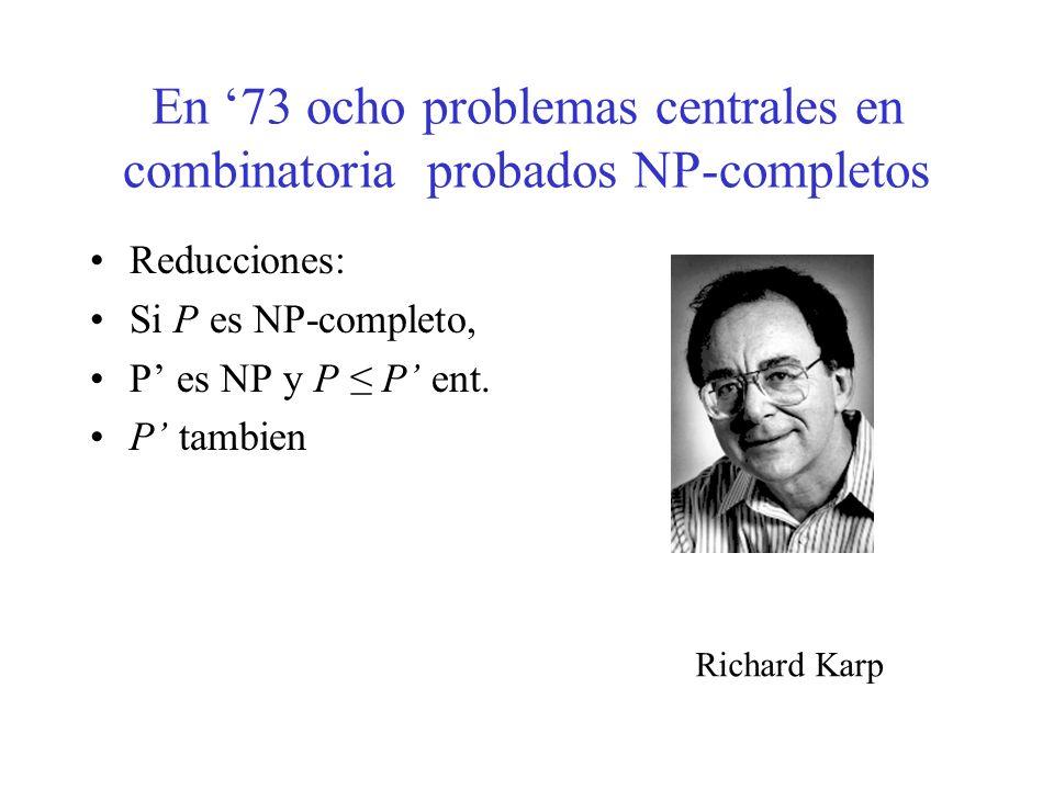 En '73 ocho problemas centrales en combinatoria probados NP-completos