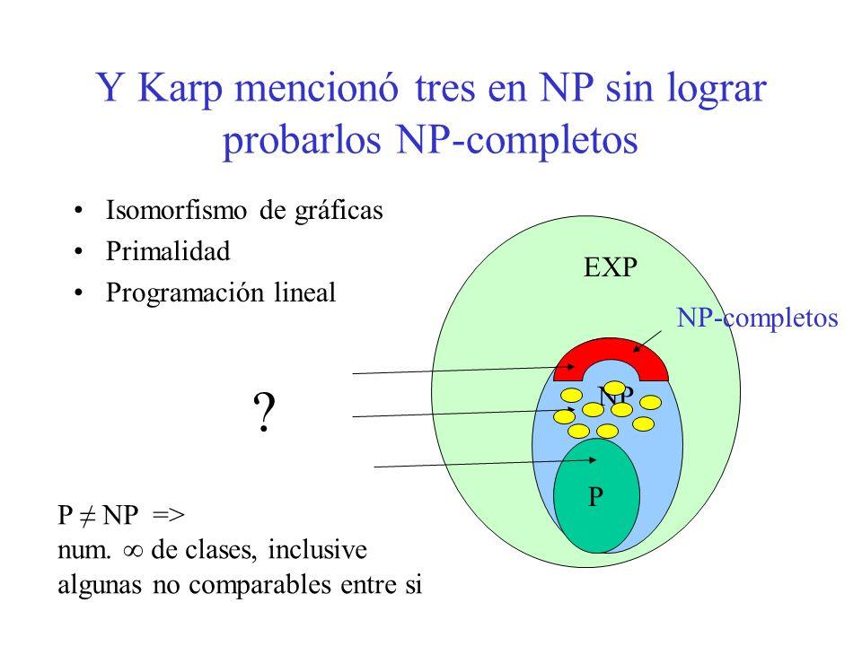 Y Karp mencionó tres en NP sin lograr probarlos NP-completos