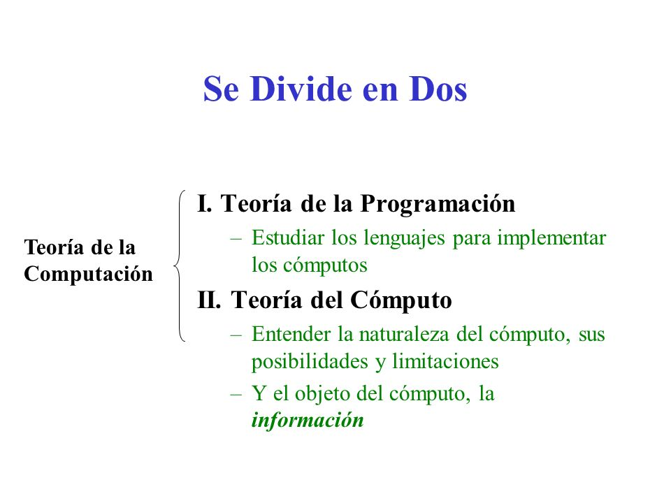 Se Divide en Dos I. Teoría de la Programación II. Teoría del Cómputo