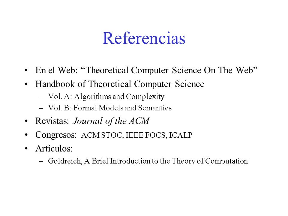 Referencias En el Web: Theoretical Computer Science On The Web