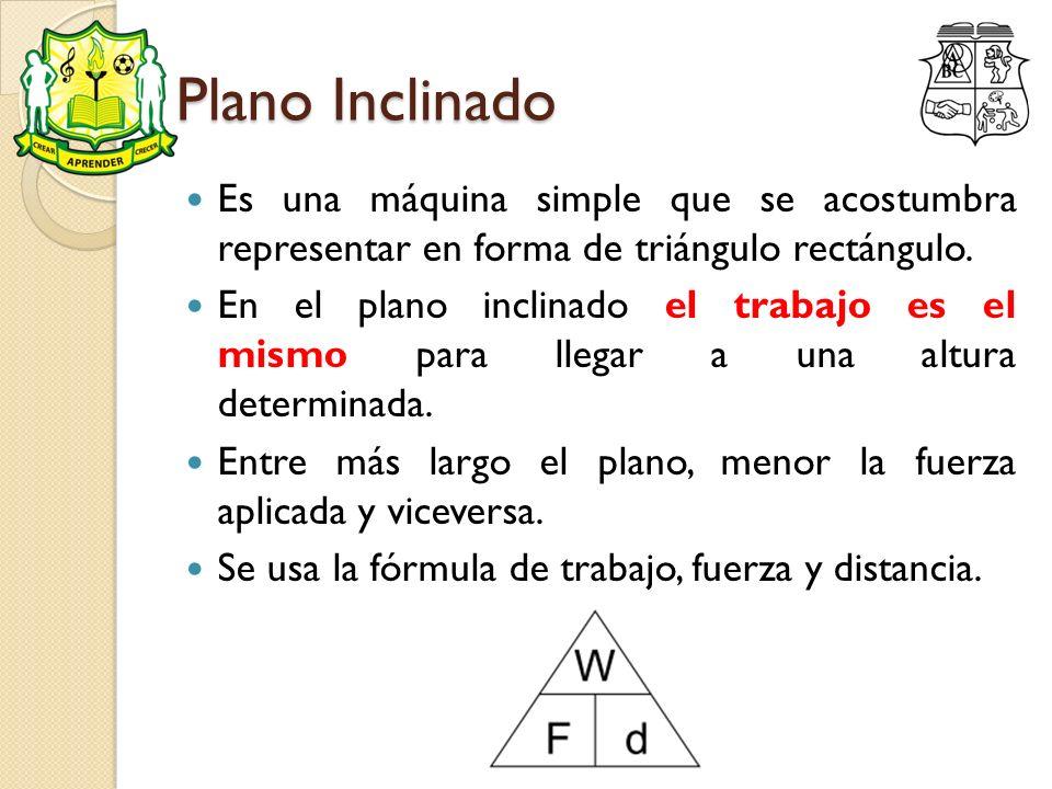 Plano Inclinado Es una máquina simple que se acostumbra representar en forma de triángulo rectángulo.