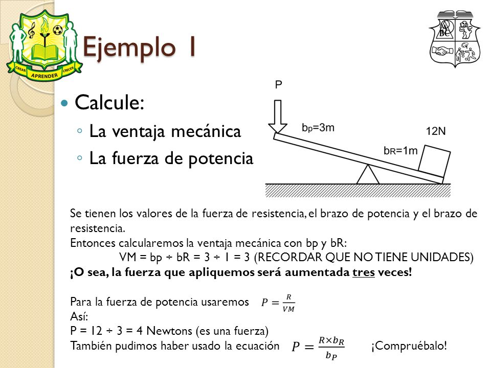 Ejemplo 1 Calcule: La ventaja mecánica La fuerza de potencia